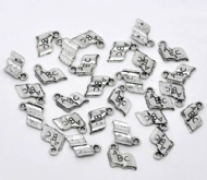 10 x Antique Silver ABC Book Charm Pendants